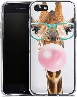 Siliconen Hoesje compatibel met Apple iPhone SE (2020) Telefoonhoesje Doorzichtig TPU-case Giraf Bril Dieren