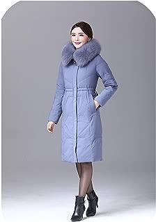 Women Duck Down Jacket Coat Long Ultralight Natural Feather Real Fox Fur Duck Down Parka #8926,Blue,XL