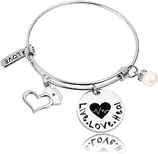 Nurse Gift Live Love heal Nursing Student Jewelry Nurse Bracelet Stethoscope Jewelry Gift for Nurse Graduation,RN,LPN