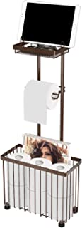 X-cosrack Freestanding Toilet Paper Holder Toilet Tissue Rack Scroll Stand Roll Dispenser with Storage Shelf Reserve for Phone Tablet Magazine Bathroom Organizer Bath Tissue Organizer (Brown)