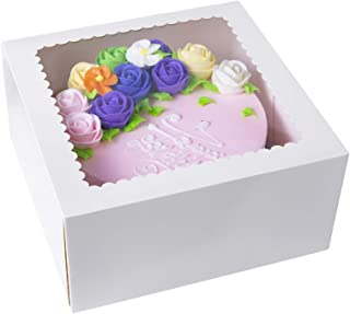 CHERRY White Cake Boxes10 X 10 X 5inch,Kraft Paperboard Bakery Box with Auto-Popup Window (Pack of 15)