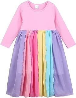 HAPPYMA Toddler Kids Girls Dresses Long Sleeve T-Shirt Tutu Skirt Party Dress