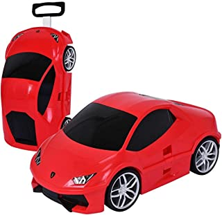 Ridaz Red Lambo Huracan Carry On Hand Luggage for Kids with Wheels