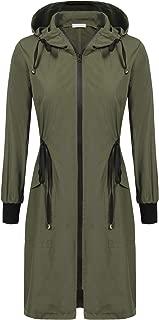 ELESOL Womens Waterproof Long Raincoat Ladies Lightweight Hooded Rain Coat Outdoor Hiking Breathable Rain Jackets S-XXL