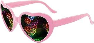 Heart Effect Diffraction Glasses -See Hearts!- Heart Sunglasses EDM Festival Light Changing Sunglasses for Women Men