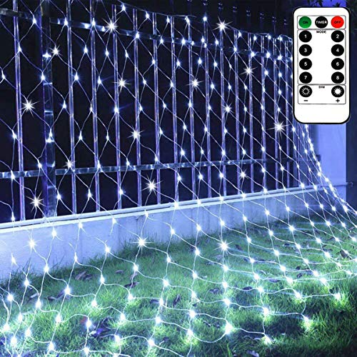 CCILAND Garden Net Lights Waterproof Battery Operated with Remote, 8 Lighting Modes, Timer, Dimmable, White Net Mesh Fairy Lights String, Curtain Light Indoor Outdoor (100 Led, 1.5m x 1.5m)