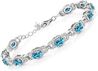 Gem Stone King Swiss Blue Topaz 925 Sterling Silver Women's Tennis Bracelet 9.65 Cttw Oval 7 Inch With 1 Inch Extender