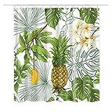 Dodou Duschvorhang Ananas Tropical Plant Muster Garten Thema Digital Printing Anti-Bakterielle Wasserdicht Polyester Duschvorhang 72