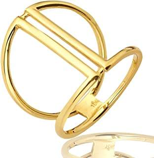 Mr. Bling 10K Yellow Gold Parallel Bars Geometric Design Ring, Available in Sizes 5-9