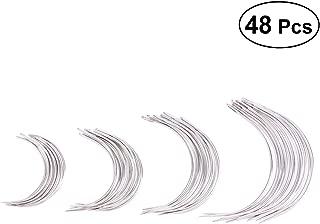 SUPVOX 48Pcs Curved Needles C Type Weaving Needle Hand Sewing Needles 4 Sizes 2.0/2.5/3/3.5 Inch