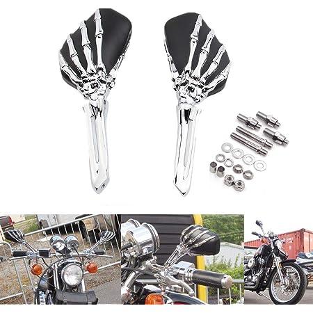 Motorrad Universal Seitenspiegel Schädel Skelett Spiegel Für Harley Touring Schatten Yamaha V Star Intruder Volusia Schwarzes Chrom Auto