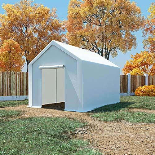 UnfadeMemory Carpa de Almacenamiento de Jardín,Carpa de Jardín,Estructura de Acero Galvanizado,PE Blanco (3x4m)