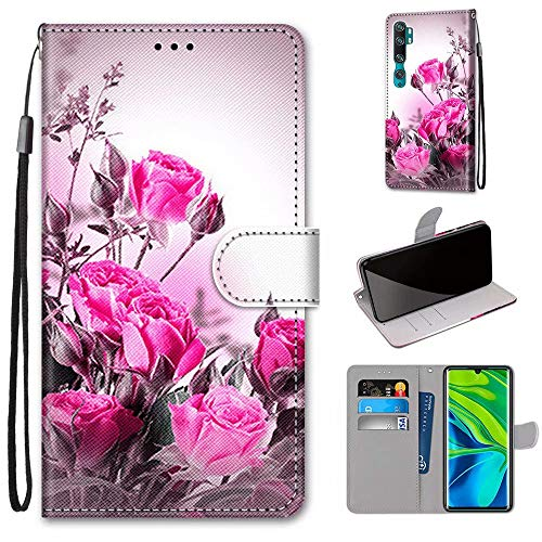 Miagon Flip PU Leder Schutzhülle für Xiaomi Mi Note 10,Bunt Muster Hülle Brieftasche Case Cover Ständer mit Kartenfächer Trageschlaufe,Wild Rose