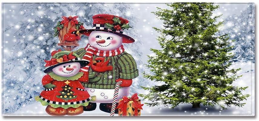 tappeto per ingresso e corridoio pavimento e bagno Hamkaw tappeto natalizio con retro antiscivolo divertente tappetino per cucina 119,4 x 40,6 cm