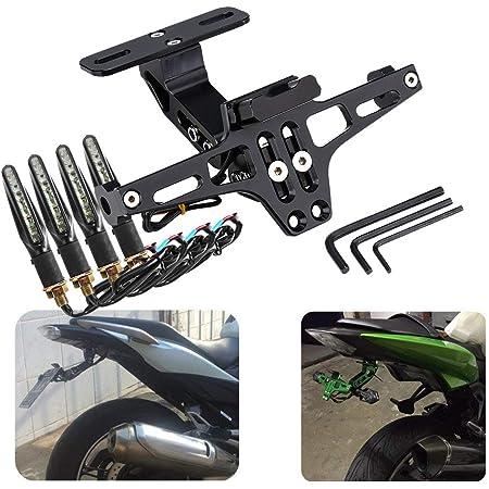 Kennzeichenhalter Für Motorrad Und 4 Stück Universal Blinker Für Motorrad Verstellbar Mit Licht Für 125r S1000r Mt07 Mt09 Auto