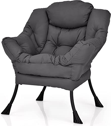 Giantex Modern Lazy Chair, Accent Contemporary Lounge Chair Polyester Fabric w/Steel Frame, Upholstered Single Sofa Chair w/Armrests & Side Pocket, Leisure Sofa Chair (Grey)
