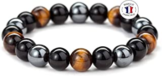 Bracelet Triple Protection en Pierres Naturelles - Bracelet Extensible - Pierres de 10mm - Œil de tigre - Obsidienne noire...