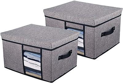 Alesa gray foldable storage box, large-capacity rectangular storage box, linen fabric, with handle and transparent window (2-pack)