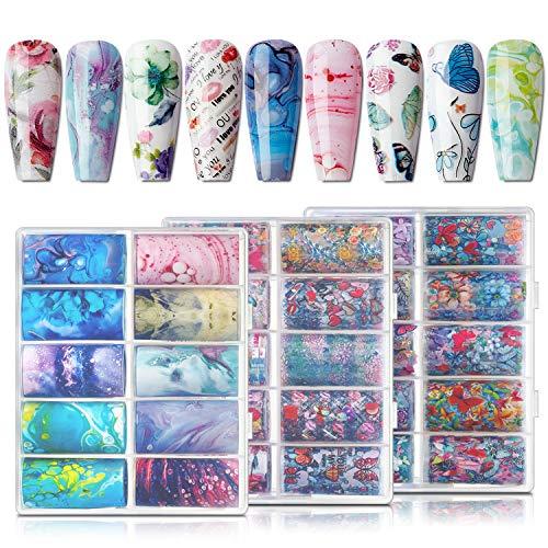 Makartt Nail Foil Sticker Kit, 30 Rolls Nail Foil Transfer Flower Butterfly Marble Design Nail Decals Nail Foil Transfer Sticker for Women (4x100cm)