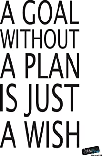 Stickerbrand Motivational Quotes Vinyl Wall Art A Goal Without a Plan is Just a Wish Wall Decal Sticker - Black, 30