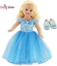 Emily Rose 18 Inch Doll Clothes for American Girl Dolls | Princess Cinderella Ball Gown Doll Dress with Sparkly Glass Slippers Doll Shoes | Fits 18