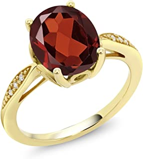 garnet diamond ring yellow gold