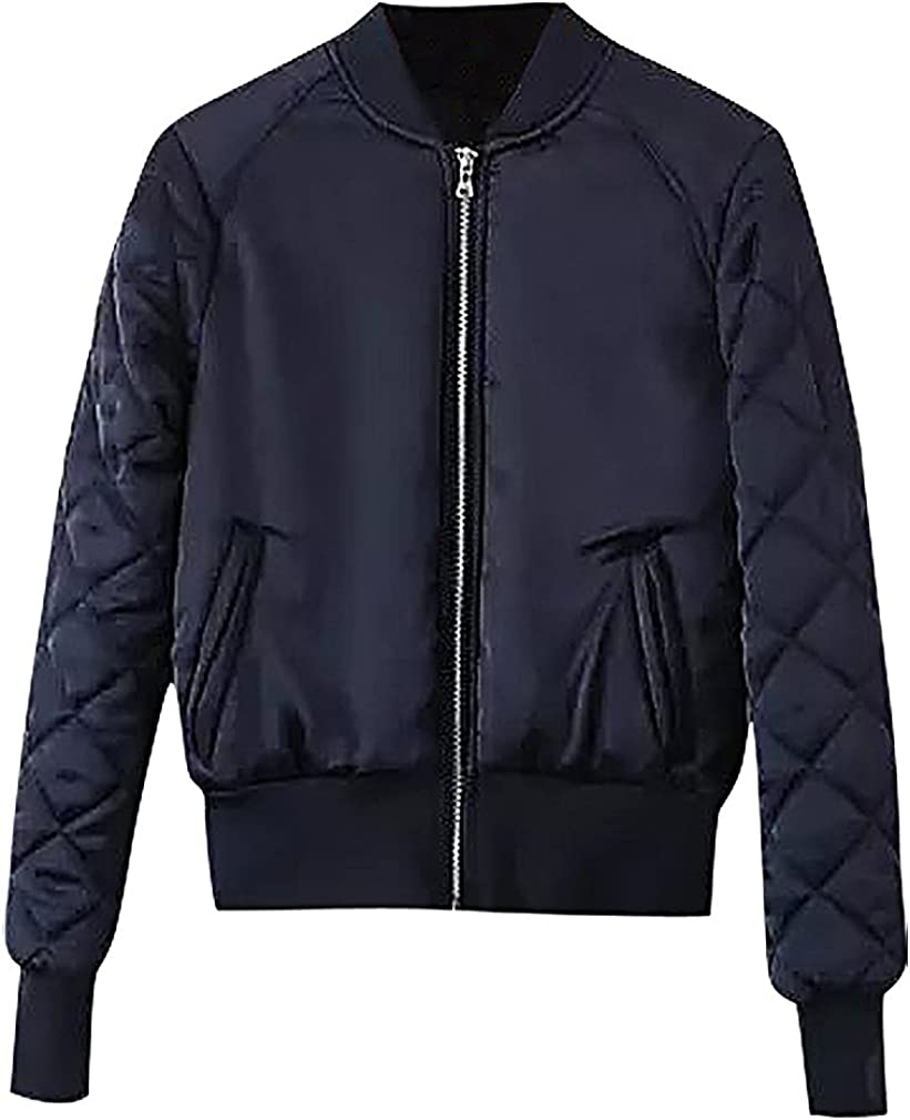 Maze, Women's Padded Candy Color Quilted Sleeve Trimmed Zip Up Bomber Jacket