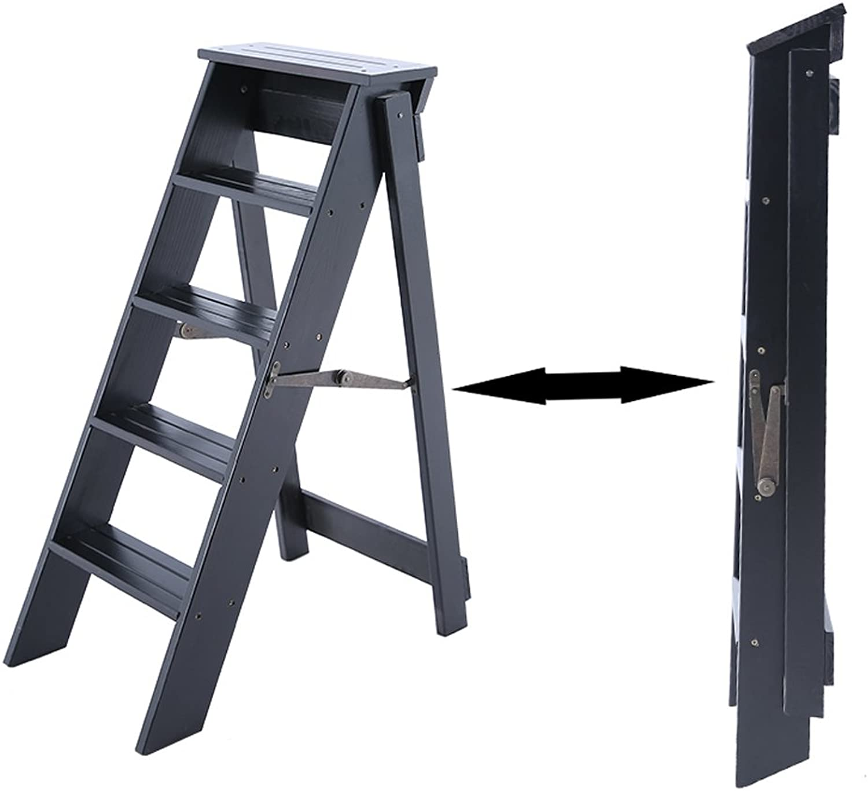 5 Step Ladder, Multi-Function Household Folding Ladder, Solid Wood Bar Stool, Indoor Thickened Ladder Rack, Flower Rack Furniture (color   Black)