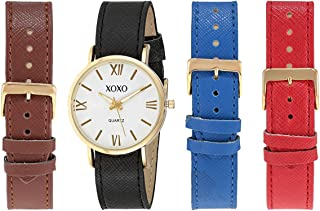 XOXO Women's White Dial Interchangeable Leather Band Watch Set - A3041