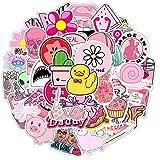 HLKJGS 200PCS Pink Stickers Pack para el portátil Nevera Teléfono Skateboard Maleta de Viaje Equipaje Chica Linda...