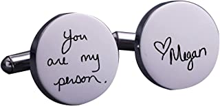 Personalized 925 Sterling Silver Handwriting Wedding Cufflinks Custom Made with Any Letters