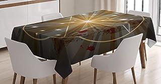 ABAKUHAUS Pentagram Bordsduk, Medieval Beam, rektangulärt bordsskydd för matsal köksdekor, 140 cm x 200 cm, Charcoal Grå Vit
