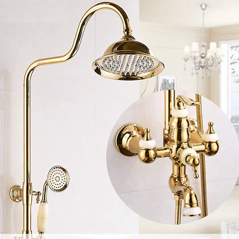 LYWIR Golden Shower Set Wandmontage Antik Messing Duschsystem 8-Zoll-Duscharmatur mit Brausekopf Messing