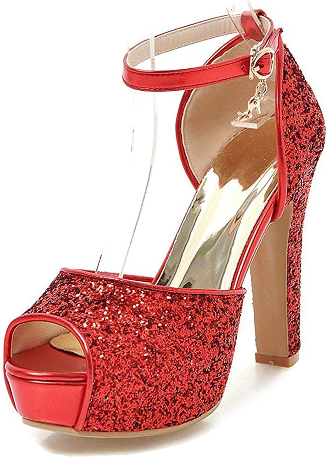 Unm Women's Platform Sandals with Ankle Strap - Peep Toe Buckled High Heel - Chunky Glitter Sequins