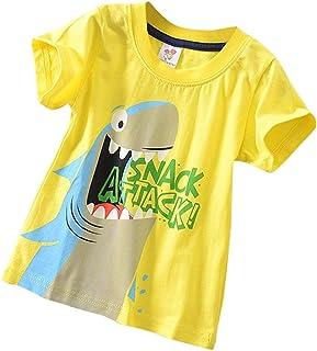 c2d18783e Fineser Toddler Little Boys Sharks Print Short Sleeve T-Shirt Tops Kids  Summer Casual Tee