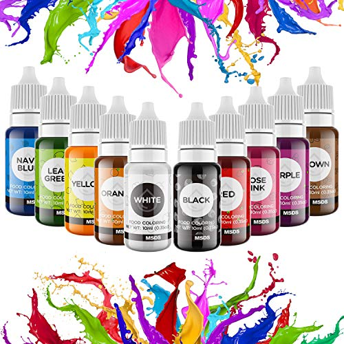 Food Coloring Liquid for Cake Decorating - Vibrant Food Color Set Edible Food Dye for Kids, 10 Colors Tasteless Cookie...