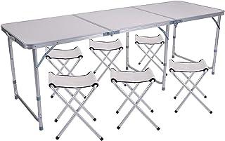 vidaXL Set Tavolo da Campeggio Pieghevole con 4 Sedie Regolabili 120  x 60 cm