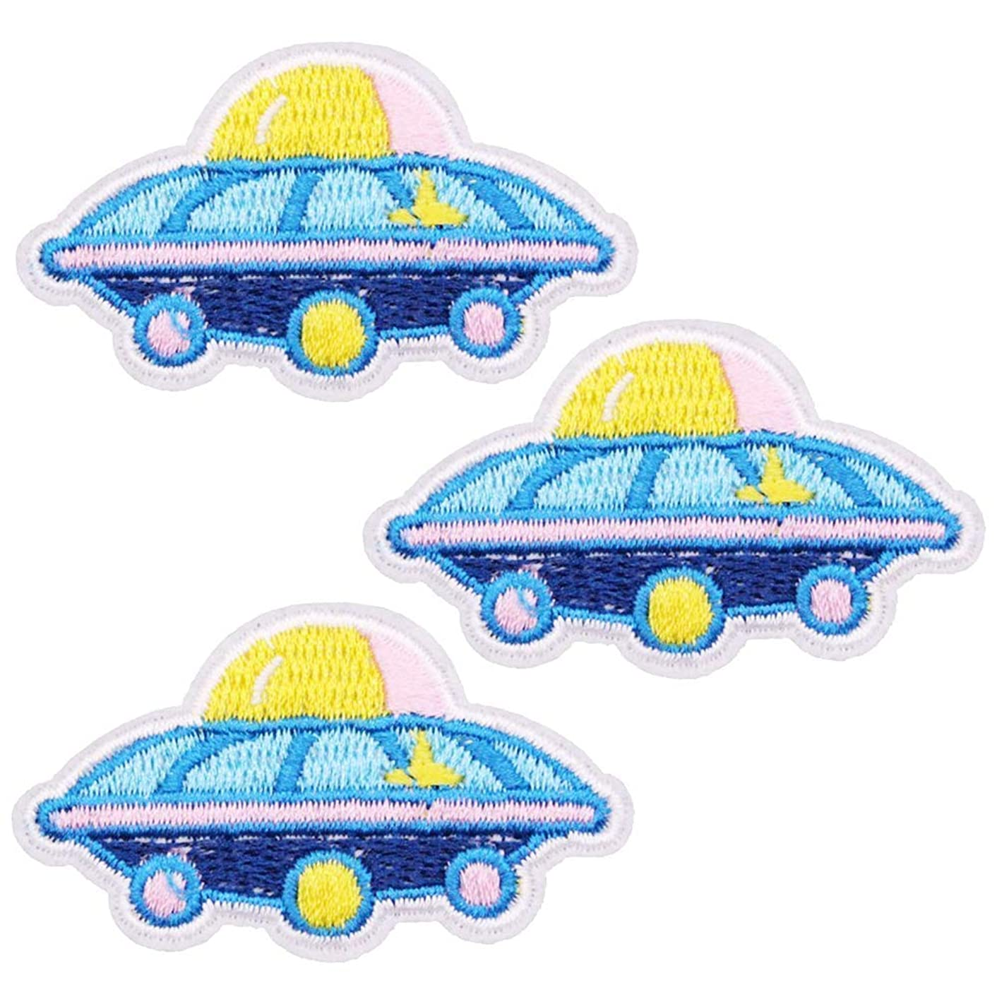 U-Sky Sew or Iron on Patches - Cartoon Spaceship UFO Patch for Kids Clothes, Jackets, Jeans, Backpacks, School Bag - Pack of 3pcs - Size: 2.2x1.3inch