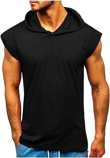 Camiseta con Capucha de Tirantes Deportes para Hombre,Tops Camisa sin Mangas de Verano Fitness Hombre Sudadera con Capucha de Color Sólido con Cordón