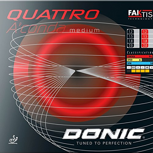 DONIC Quattro A'conda medium / NEU/OVP/ Inkl. 50 cm Kantenband / Incl. edge band Rot 1,5 mm