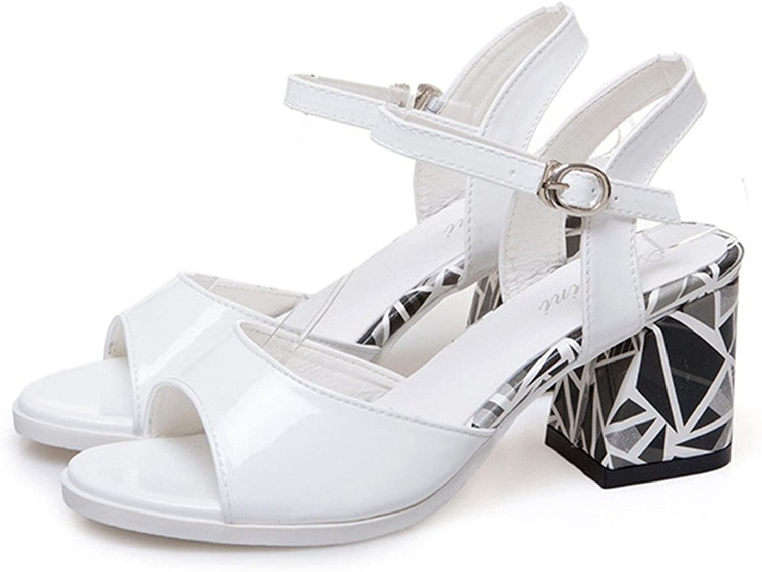 Women's Medium Heels Sandals Strappy Chunk Ankle Buckle Dress Chunky Open Toe shoes