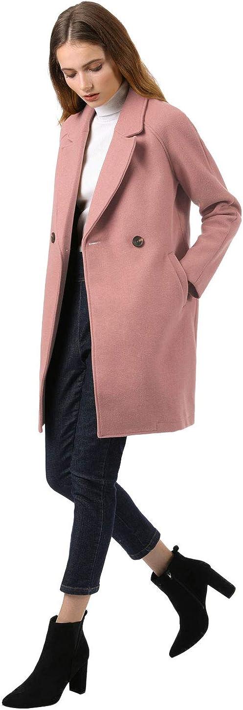 Allegra K Damen Langarm Umlegekragen Zweireiher Raglan Trenchcoat Mantel Rose Rosa