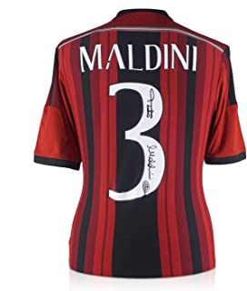 Paolo Maldini Signed 2014-15 AC Milan Home Soccer Jersey   Autographed Italy Serie A Memorabilia