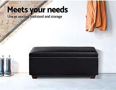 Artiss Leather Storage Ottoman Black, 80(L) x 42(W) x 36(H)