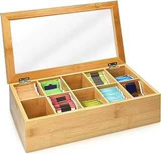 Navaris Boîte à Thé - Coffret de Rangement pour Sachets de Thé 36 x 20 x 9 cm - en Bambou - Couvercle Transparent - 10 Com...