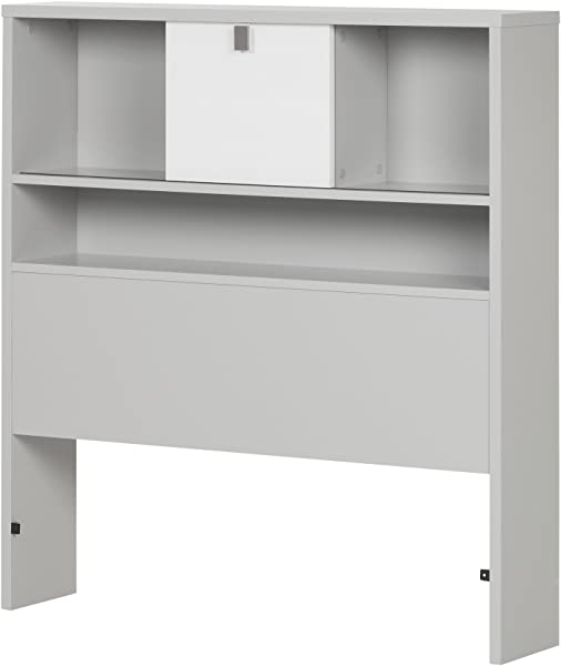 South Shore 10512 39 Cookie Bookcase Headboard Twin Soft Gray Pure White