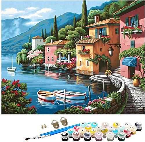Pintura por Números para Adultos, Kit de Pintura al óleo de Lienzo DIY para Niños con Pinceles, Pigmento Acrílico, Pintura de Dibujo DIY, 40X50 CM (Sea View)
