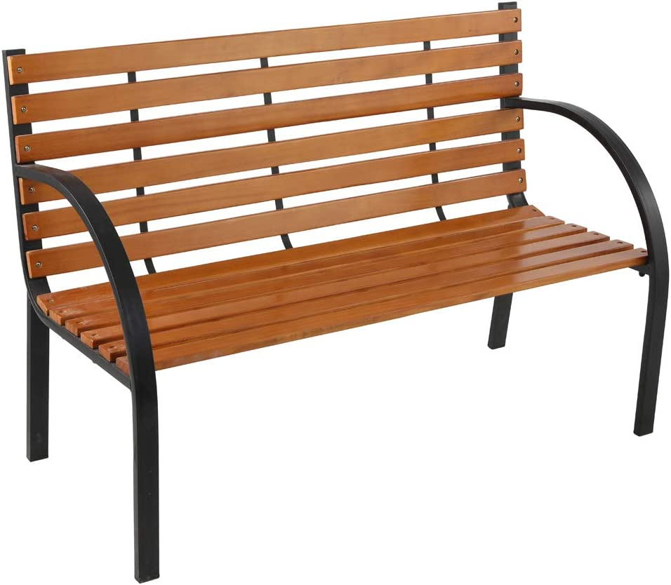 Outdoor Garden Bench Clearance,Metal Bench for Patio, Park, Lawn,Hardwood Slats Cast Iron Frame 48 inch (Style-2)