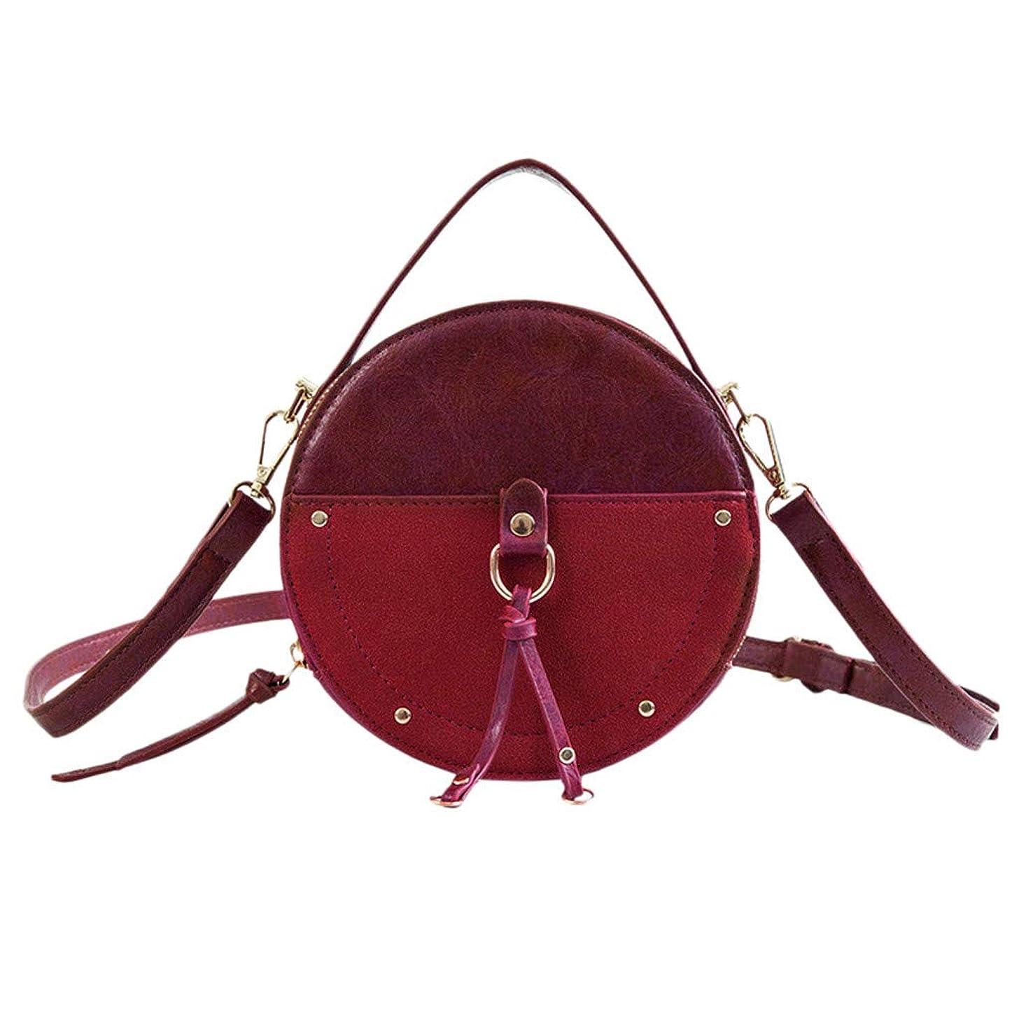 Hot Sale!DDKK bags Women Round Shape Punk Bags Rivet Shoulder Crossbody Bag Handbag Top Handle Bag Purse Portable Wild Bag-Pu Leather