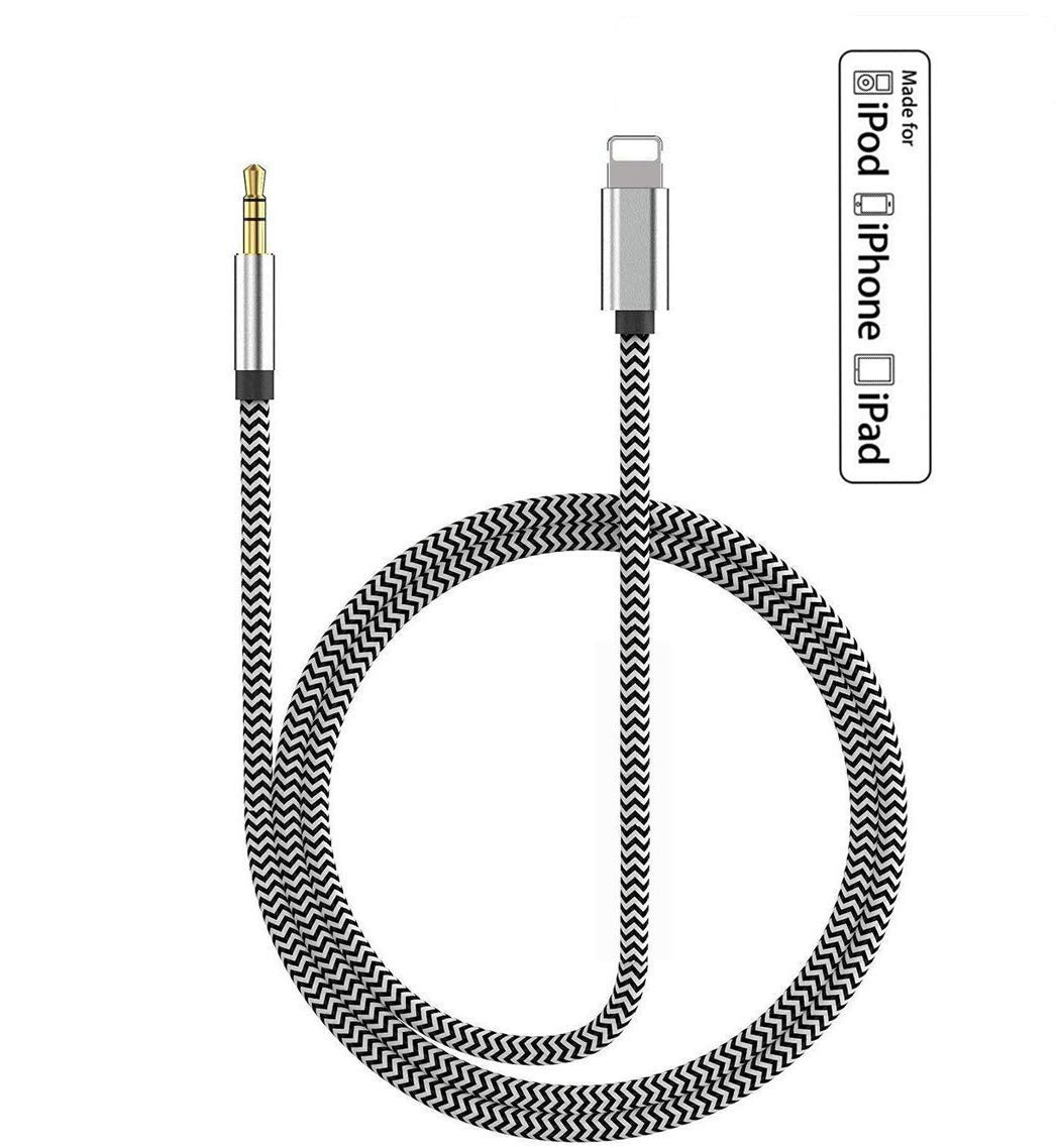 Lightning to 3.5mm Aux Cable for Car Compatible with iPhone 8P//X//XR//XS MAX//11//11Pro Adapter Cable to Car Stereo//Home//Headphone//Speaker Support iOS13 Aux Cord for iphone 11, 3.3ft Apple MFI Certified